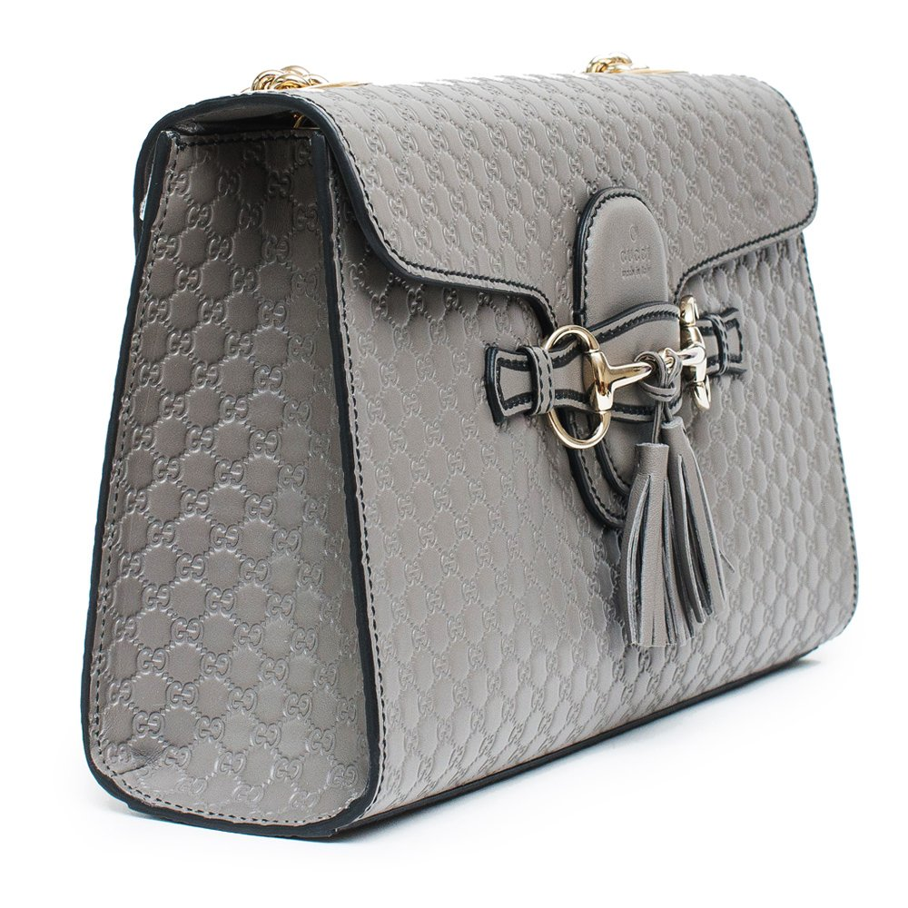a6e6bb06f1b Amazon.com  Gucci Emily GG Micro Shoulder Lousse Grey Gray Leather New  Handbag  Shoes