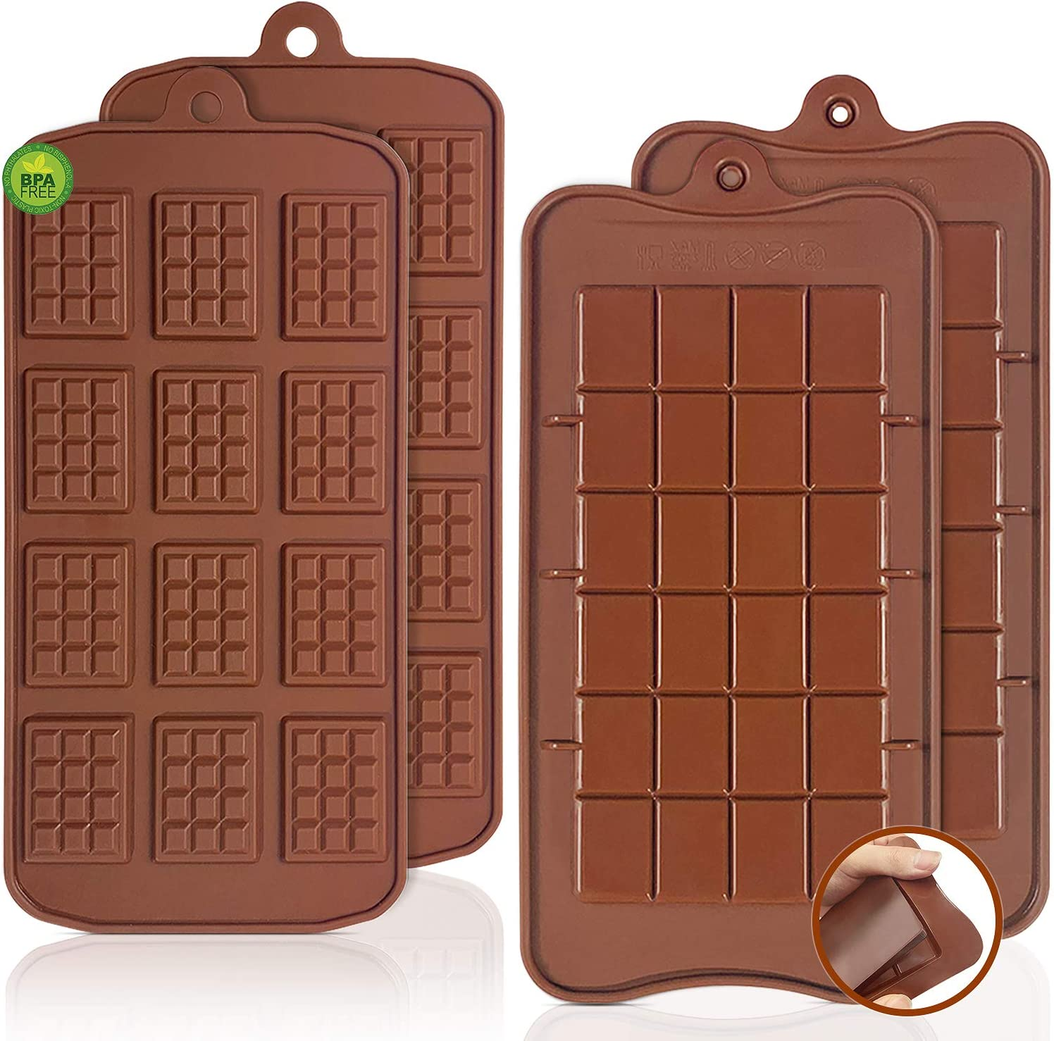 Break-Apart Chocolate, Walfos Food Grade Non-Stick Silicone chocolate waffle mold and Energy Bar chocolate Molds. 4 Packs