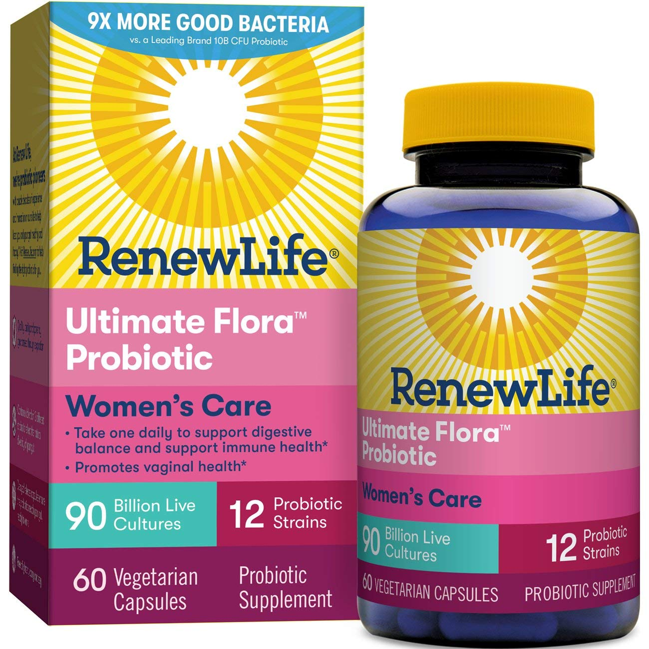 Renew Life Women's Probiotic - Ultimate Flora Women's Care, Probiotic Supplement - Gluten, Dairy & Soy Free - 90 Billion CFU - 60 Vegetarian Capsules by Renew Life
