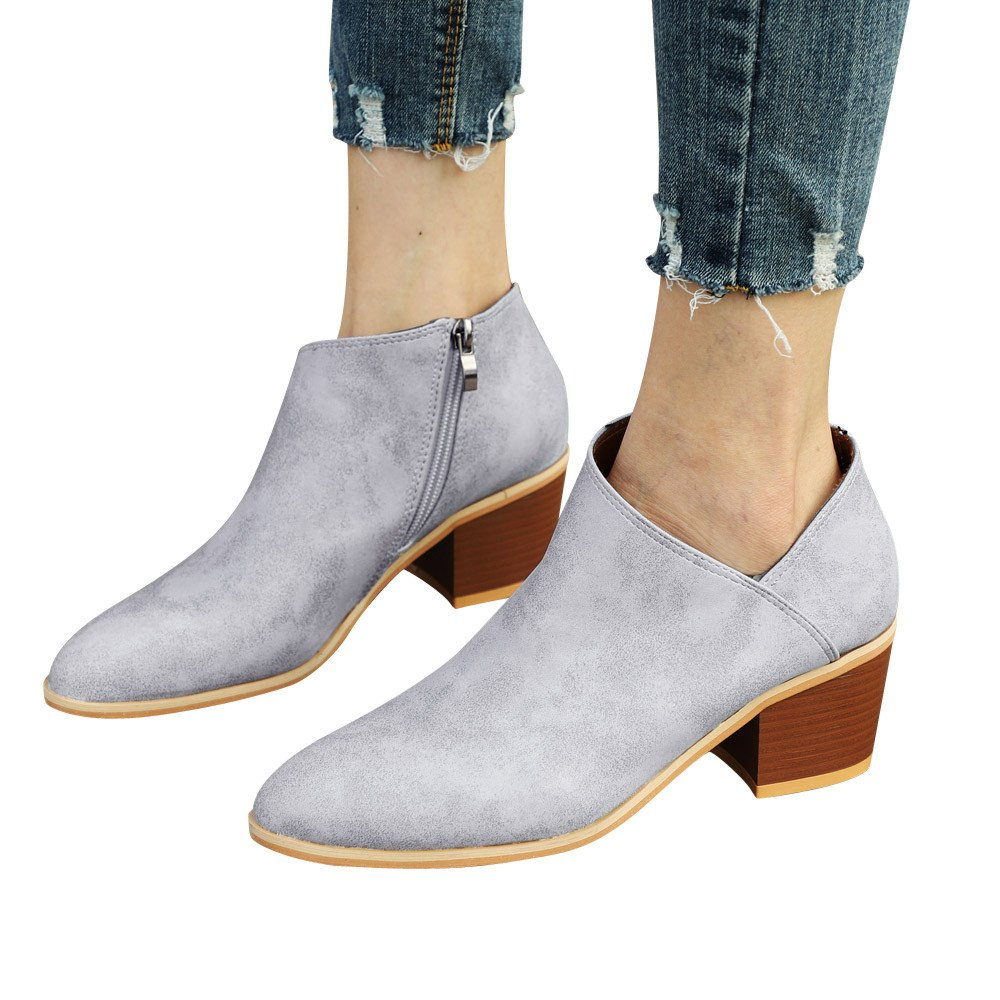 Shybuy Cute Western Bootie Womens Casual Round Toe Slip On Ankle Boot Side Zip up Low Heel