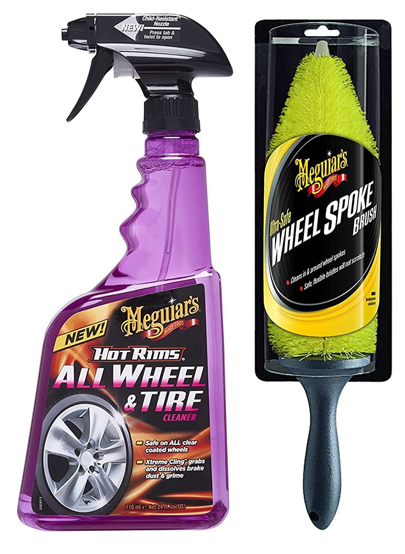 Meguiar's 72940 Pulitore Cerchi Rapido Universale All Wheel Cleaner, 710 ml + Meguiar's 93981 Spazzola per Cerchi 710 ml + Meguiar' s 93981 Spazzola per Cerchi Meguiar' s Car Care Products
