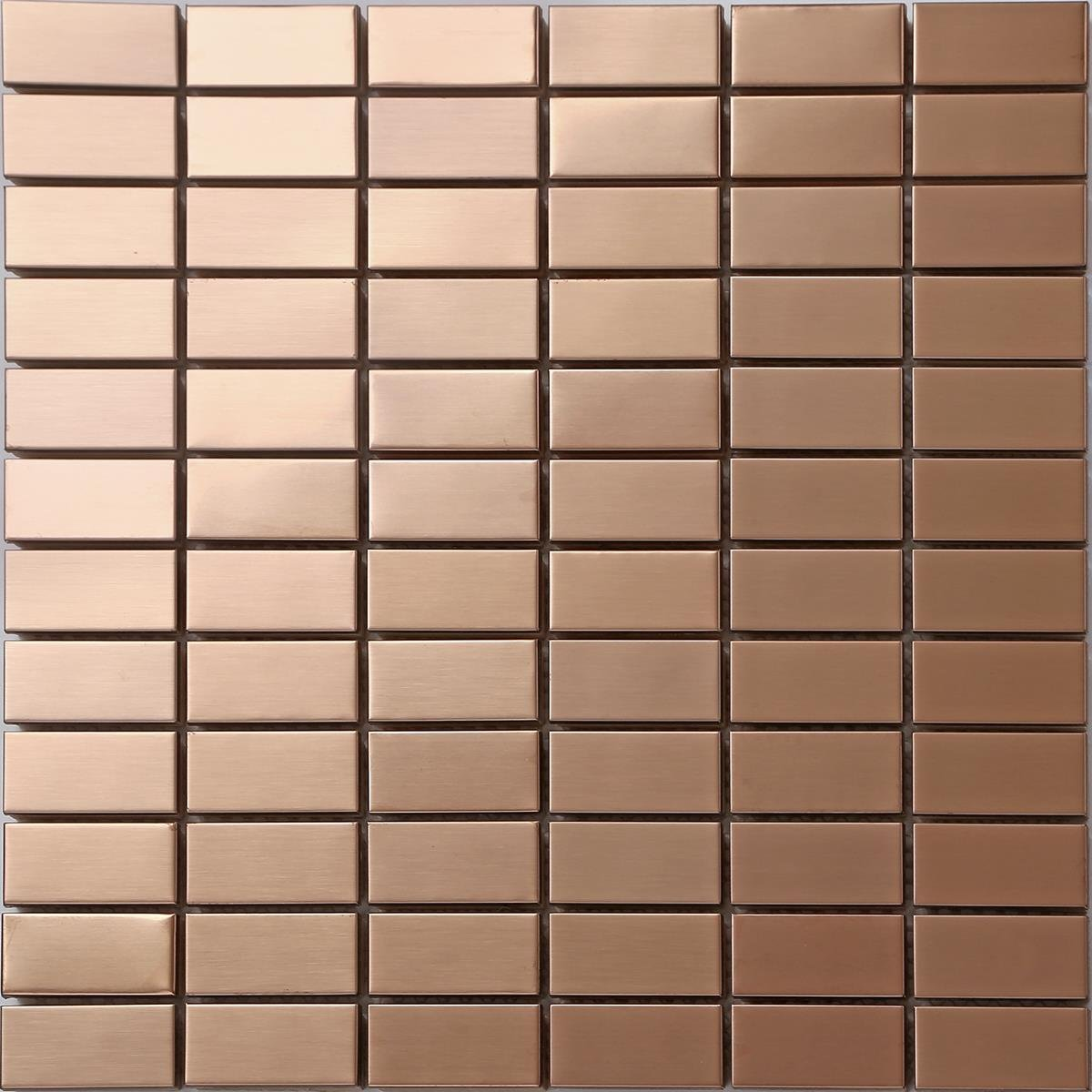 Grand Taps Copper effect Stainless Steel Mosaic Wall Tiles (MT0105) (11 Sheets)