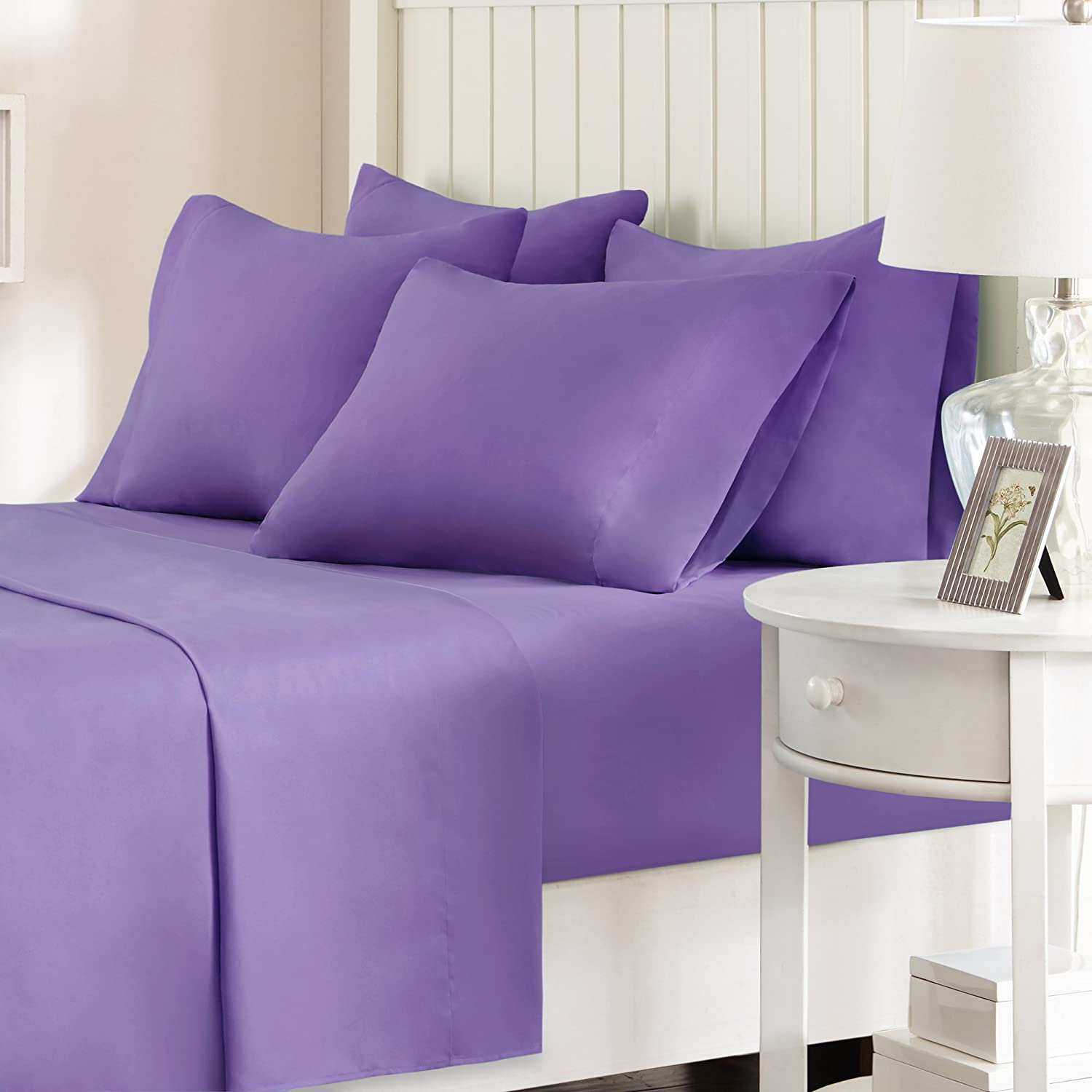(Queen, Purple) Comfort Spaces Microfiber Sheet Set 6 Piece Queen Size Solid Purple Includes flat sheet, fitted sheet and 4 pillow cases B01N0ZN3EJ クイーン|パープル パープル クイーン