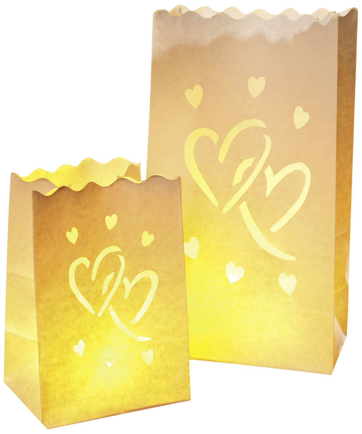 Wenko LUMINARIA 8550100 Brillante decorativa Big Love - set di 8, lanterna, Carta, Bianco