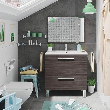 HABITMOBEL Mueble Baño con Espejo, Lavabo Cerámica (Puerta abatible + Cajon)