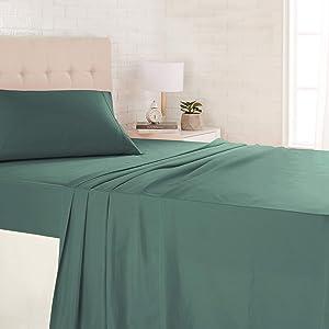 AmazonBasics Light-Weight Microfiber Sheet Set - Twin XL, Emerald Green