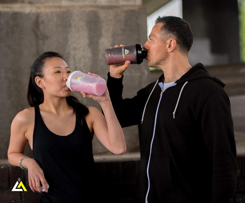 Musclelinx Sports Nutrition - Frasco para mezclar proteínas con tapón de rosca, 100 % a prueba de fugas, de 600 ml a 800 ml