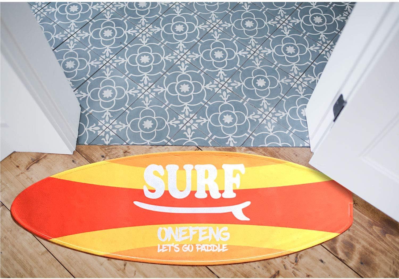 Onefeng Sports Surf Rug Surfboard Shaped Carpet Indoor Outdoor Rug Washable Home Decorative Mat