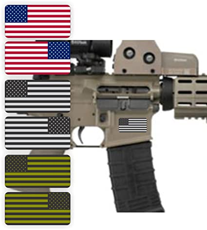 (6) AR15 Lower AMERICAN FLAG Stickers | Distressed MAG Black Ops Decals  AR-15 | Motorcycle Helmet | Subdued Hard Hat, Tool Box Merica Flags USA