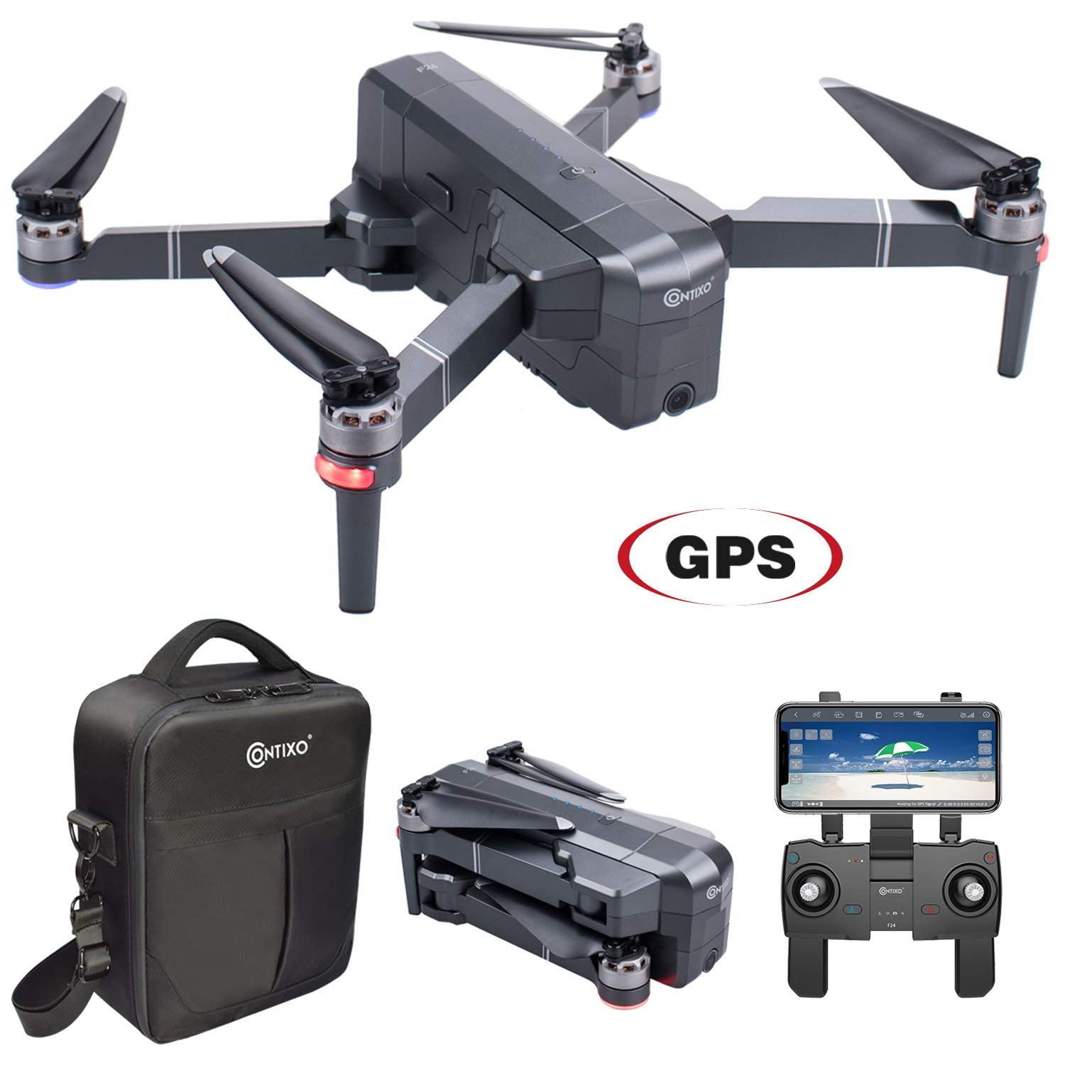 Contixo F24 Brushless Foldable Quadcopter Drone | Selfie, Gesture, Gimbal 5GHz 1080P WiFi Camera, GPS, Auto Hover, Follow Me, Waypoint 30 Minutes Flying Time Includes Storage Case (F24) by Contixo