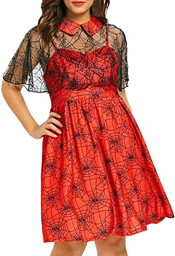 TWISFER damska sukienka koktajlowa w dużych rozmiarach, koronkowa sukienka w kwiaty, sukienka na imprezę, stÓjka z dekoltem w kształcie litery V, na Halloween, imprezę, cobweb print, bez rękaw