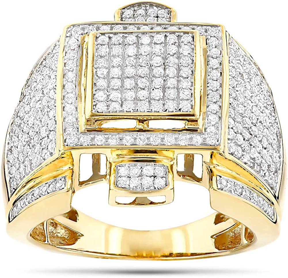 14k Yellow Gold Finish Mens 4.2ct Pave Set Cubic Zirconia Diamond Pinky Ring