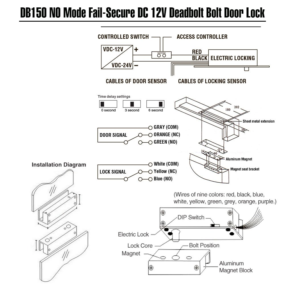 No Mode Dc 12v Zoter Deadbolt Strike Electric Drop Latch Retraction Wiring Diagram Bolt Timer Door Lock Fail Secure Camera Photo