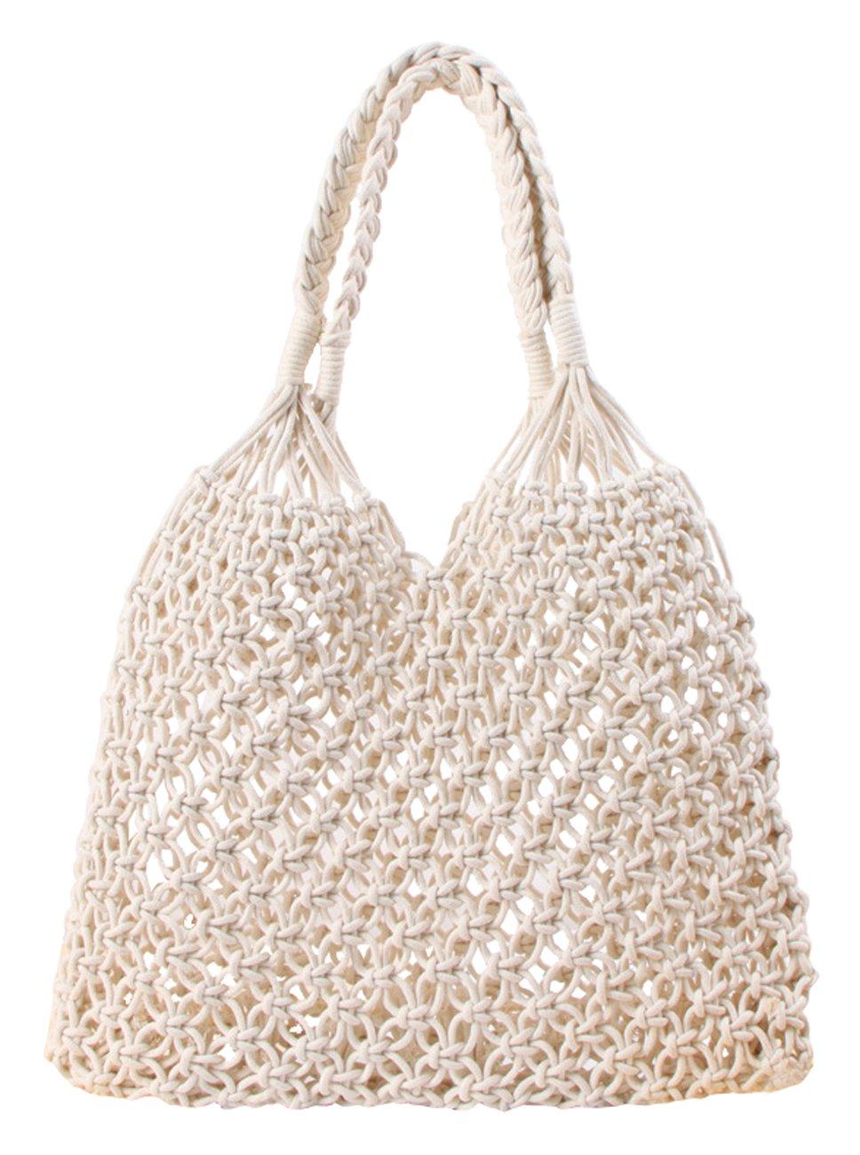 Beach Bag Tote Braided Handbag Women String Bag Summer Hobo Bag Travel Bag (Ivory)