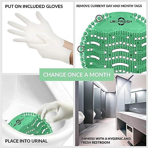 - Paravento e deodorante per orinatoio Confezione da 10 con guanti Uri-Fresh Kiwi