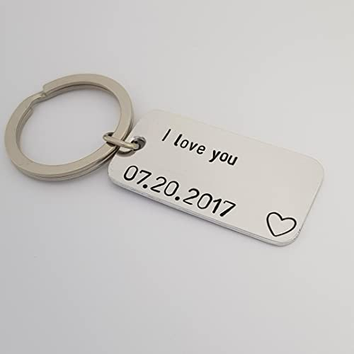 Amazon com: Personalized Keychain, Date, I Love You