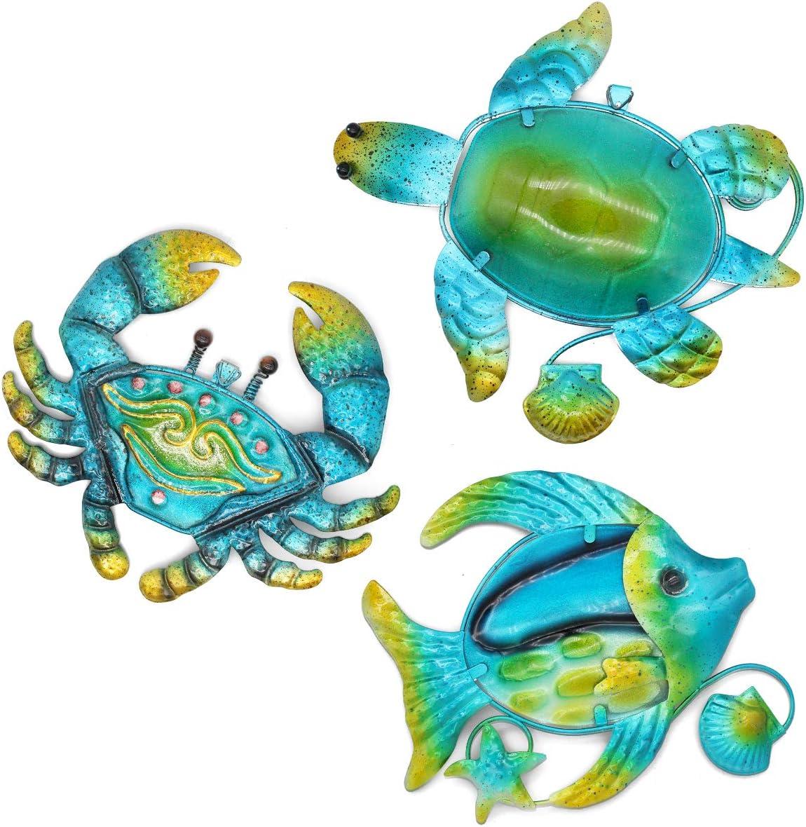 FANWNKI 3Pack Metal Crab Sea Turtle Fish Mediterranean Wall Art Decor for Pool Porch Fence Garden Home Livingroom Bedroom,Blue