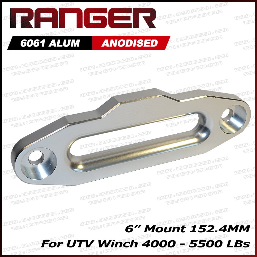 Ranger UTV Side by Side Aluminum Hawse Fairlead for Synthetic Winch Rope Cable Lead Guide 6'' (152.4MM) Mount
