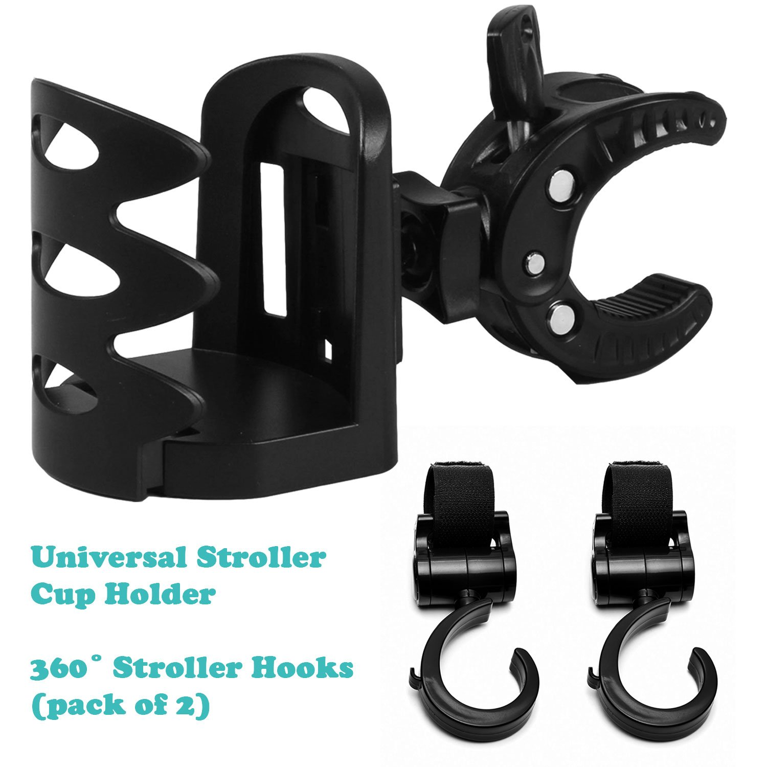 Launch Sale 70% Off - Premium Universal Cup Holder and Stroller Hooks (2) - 360 Degree Rotation - Wheelchair, Bike, Push Chair Bottle Holder and Heavy Duty Hooks