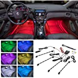LEDGlow 4pc Multi-Color LED Interior Footwell Underdash Neon Light Kit for Cars & Trucks - 7 Solid Colors - 7 Patterns - Musi