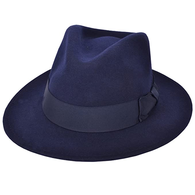 1940s Mens Hats | Fedora, Homburg, Pork Pie Hats High Quality Crushable Hand Made Gents Indiana 100% Wool Felt Fedora Trilby Hat With Wide Band £25.99 AT vintagedancer.com