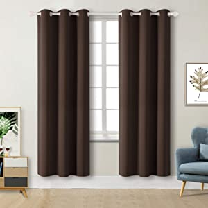 BGment Blackout Curtains for Living Room - Grommet Thermal Insulated Room Darkening Curtains for Bedroom, 2 Panels of 42 x 84 Inch, Brown