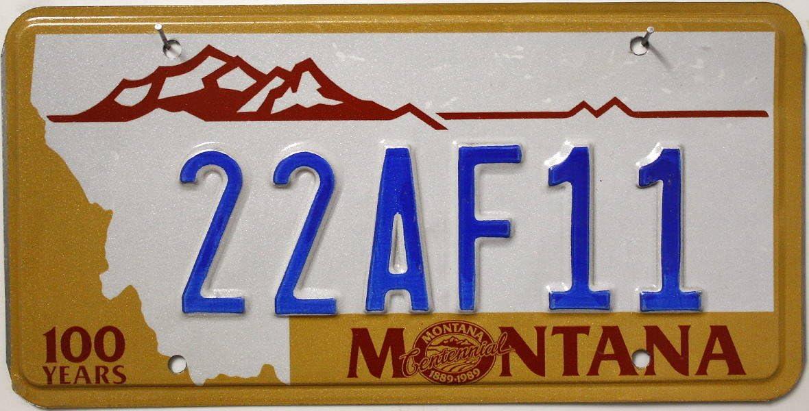 USA Nummernschild MONTANA 100 years ^ US Autokennzeichen LICENSE PLATE ^ Motiv-Metallschild