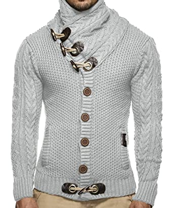 deed2de50 Mens Turtleneck Sweater Casual Cable Knit Button Closure Cardigan By Runcati