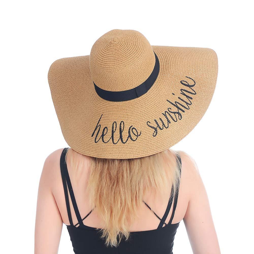 Womens Wide Brim Sun Hat UPF 50 Beach Cap Summer Hat for Pool Park Garden Outdoor Activities