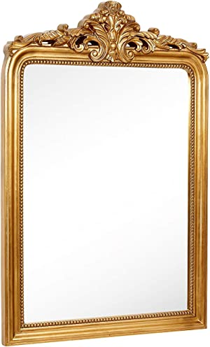 Hamilton Hills Top Gold Baroque Wall Mirror | Rich Old World Feel Framed Beveled Elegant Glass Mirror | Entryway Bathroom or Powder Room ( 28