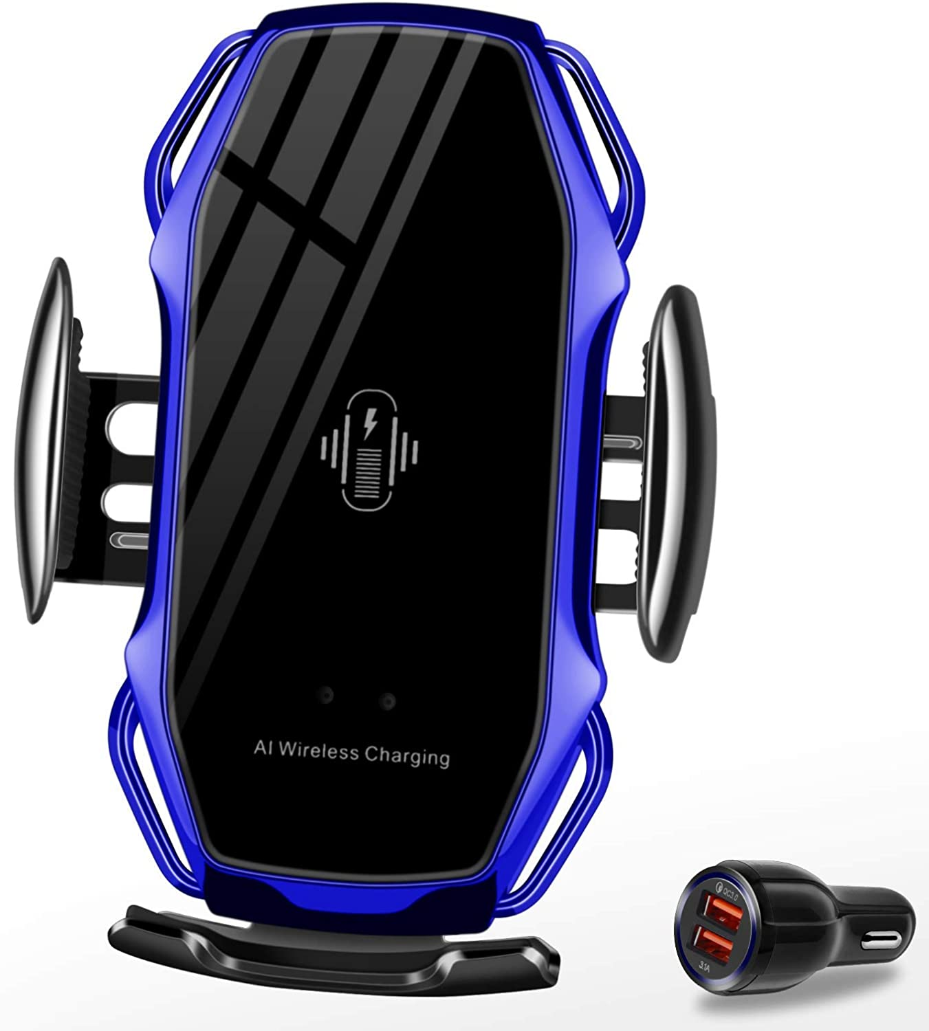 Wireless Charger Car Touch Sensing Automatic Retractable Clip Fast Charging Compatible for iPhone Xs Max/XR/X/8/8Plus Samsung S9/S8/Note 8
