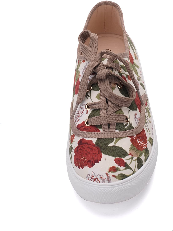 Blythe Women Canvas Floral Lace Up Flat Sneaker Mila Lady