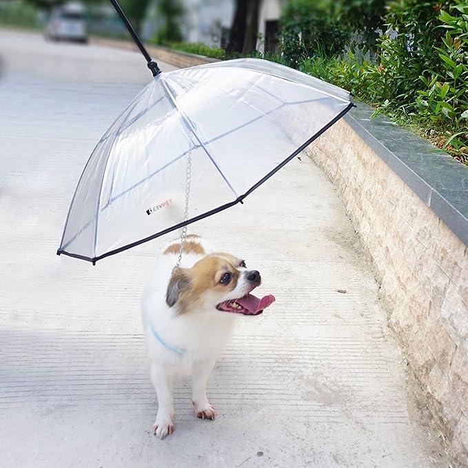 LESYPET Pet Umbrella, Dog Umbrella with Leash Folding Assembled Puppy Doggy  Umbrella (Transparent)