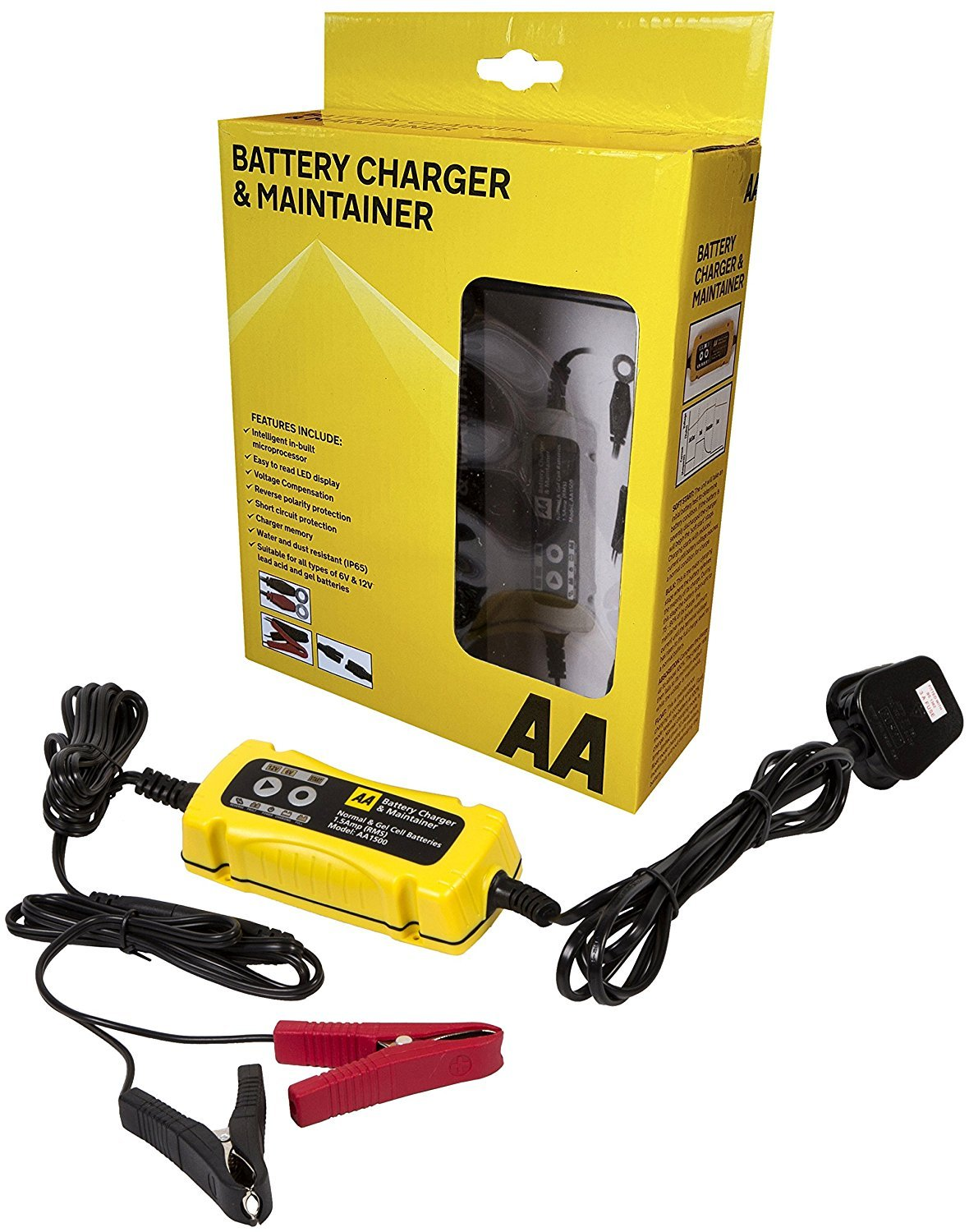 Aa Battery Charger Maintainer For 6v 12v Lead Acid And Gel Wiring Circuit Batteries Black Yellow Car Motorbike
