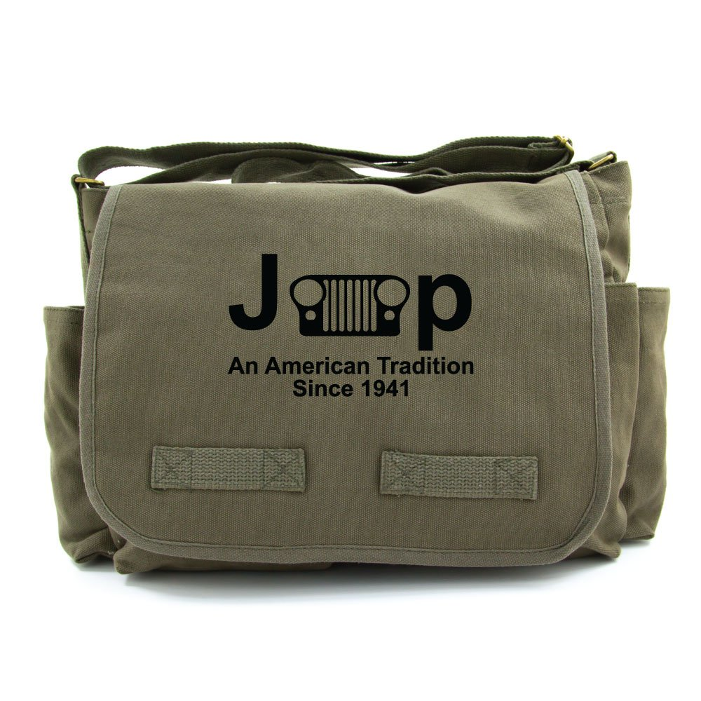 Jeep An American Tradition Army Heavyweight Canvas Messenger Shoulder Bag in Olive & Black