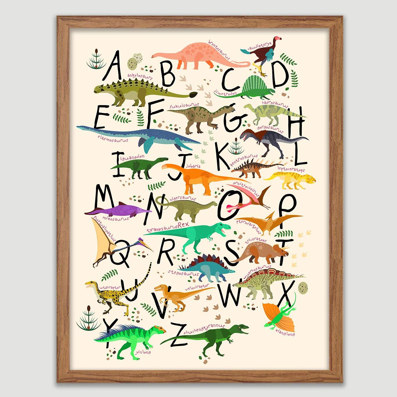 Amazon.com: Dinosaur Alphabet Print A-Z Kids Wall Art Children Decor ...