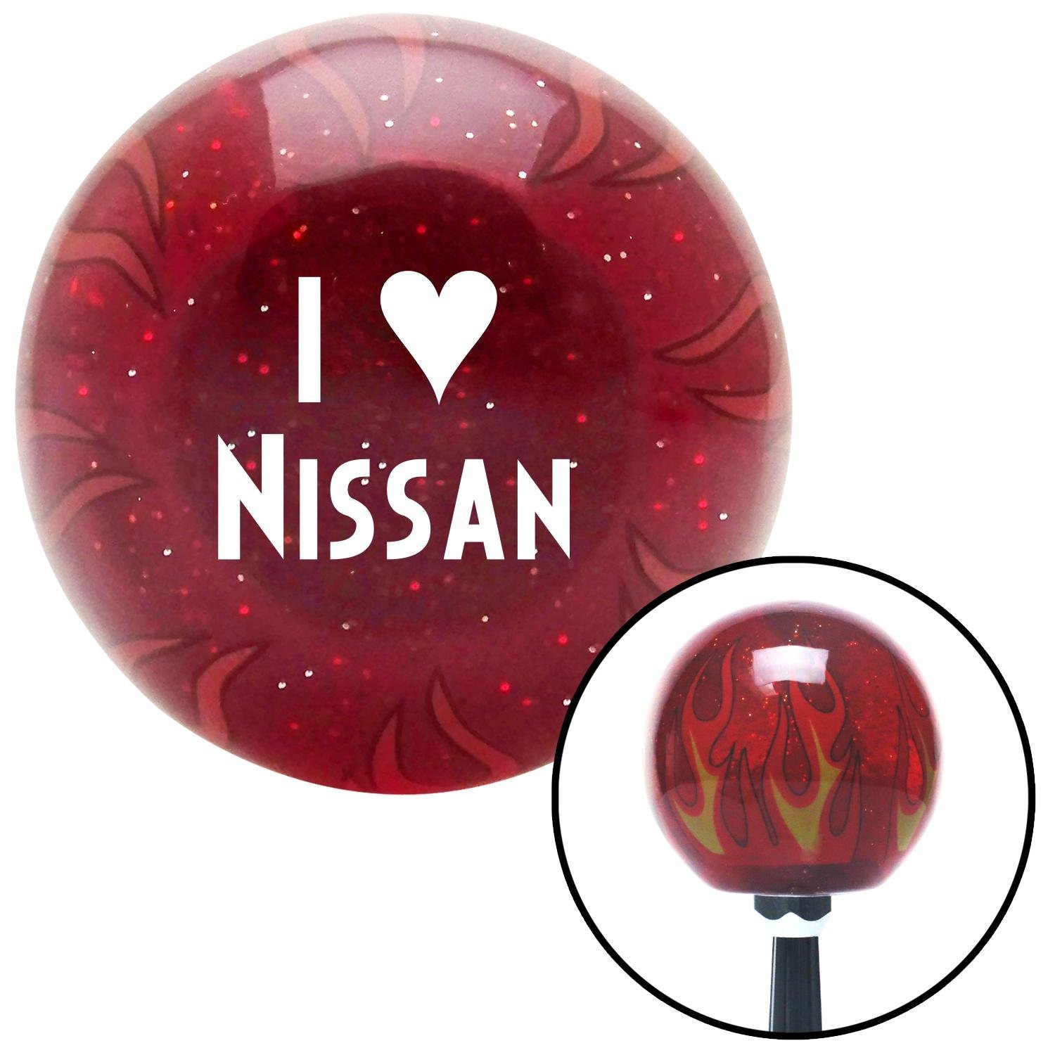 White I 3 Nissan American Shifter 237478 Red Flame Metal Flake Shift Knob with M16 x 1.5 Insert