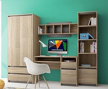 Lancashire Furniture Kinder Teenager Wohnwand 4 Teilig Mit Schreibtisch  Kleiderschrank Aktenschrank Und Regal