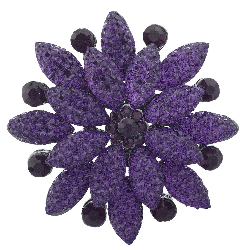 Lux Accessories Purple Pave and Crystal Stone Floral Flower Bling Brooch Pin