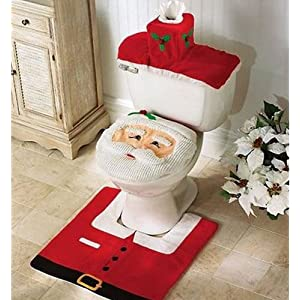 santa toilet seat cover and rug set for seasonal dcor 3pcs christmas bathroom sets
