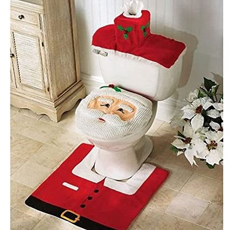 Pleasant Santa Toilet Seat Cover And Rug Set For Seasonal Decor 3Pcs Christmas Bathroom Sets Toilet Seat And Tank Covers Plus A Colorful Contour Rug With Customarchery Wood Chair Design Ideas Customarcherynet