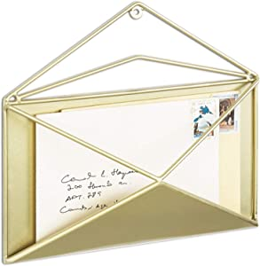MyGift Brass-Tone Metal Wall-Mounted Envelope-Shaped Mail Holder