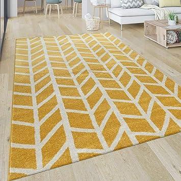Paco Home Teppich Wohnzimmer Muster Geometrisch Modern Kurzflor Streifen In  Gelb Weiß, Grösse:80x150 cm