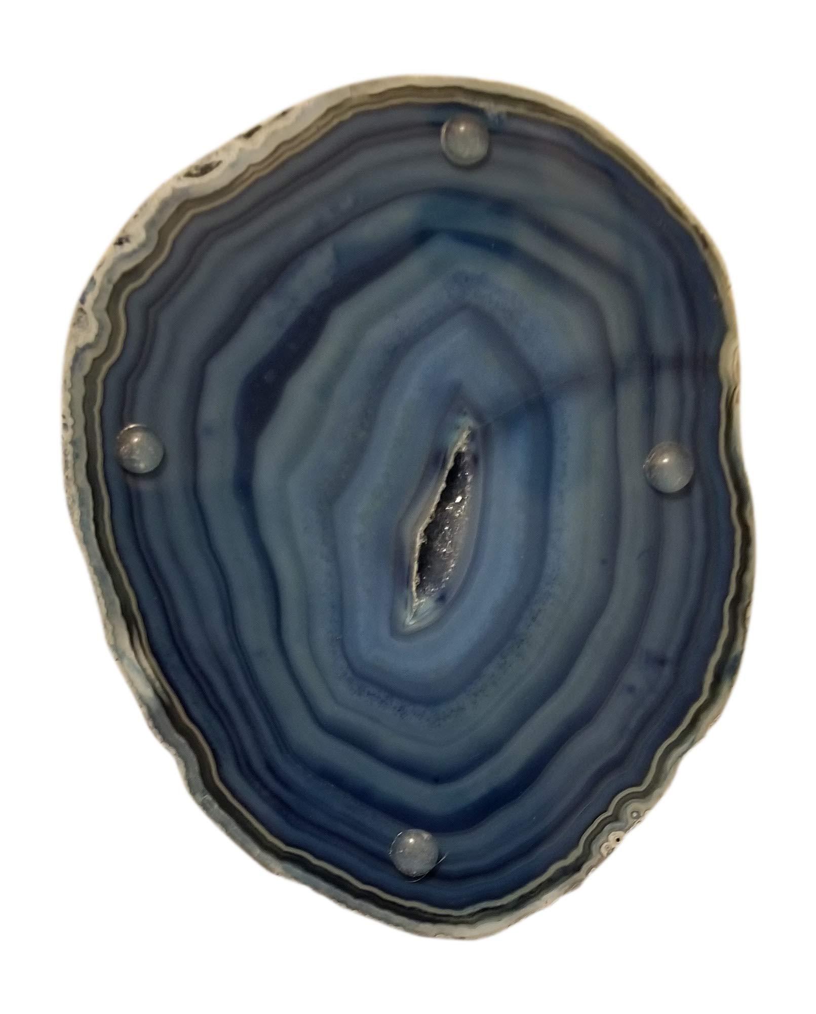 Natural Brazilian Agate Stone Coasters, Bookends and Wind Chimes Set, Incl 4 Large Coasters 4''-5'', 1 Pair of Bookends 2-3 lbs and Wind Chimes, Free Microfiber Polishing Cloth and 2 Mugs (blue) by Enchanted Dwelling (Image #5)