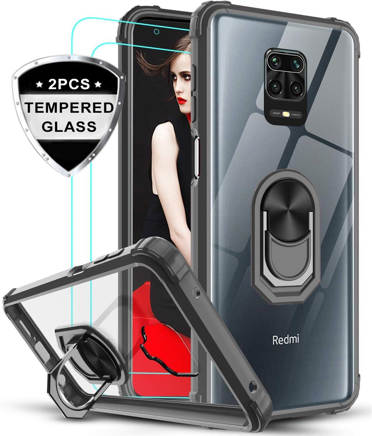 LeYi Funda Xiaomi Redmi Note 9s / Note 9 Pro con [2-Unidades] Cristal Vidrio Templado,Transparente Carcasa con 360 Grados iman Soporte Silicona Bumper Armor Case para Movil Note 9s,Clear Negro