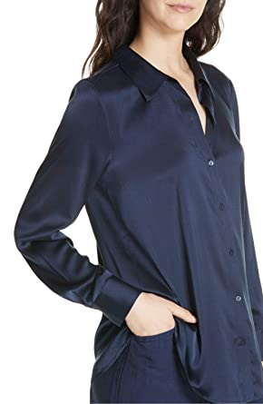 1c7c863669c7c4 Image Unavailable. Image not available for. Color  Eileen Fisher Midnight  Stretch Silk Crepe Classic Collar Shirt ...
