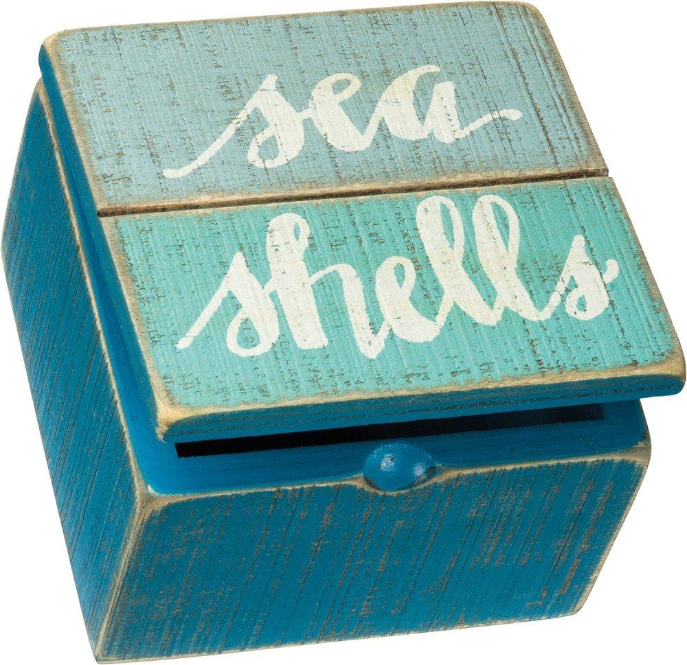 "Primitives by Kathy Keepsake Trinket Hinged Box 4"" x 4"" x 2.75"" Sea Shells"