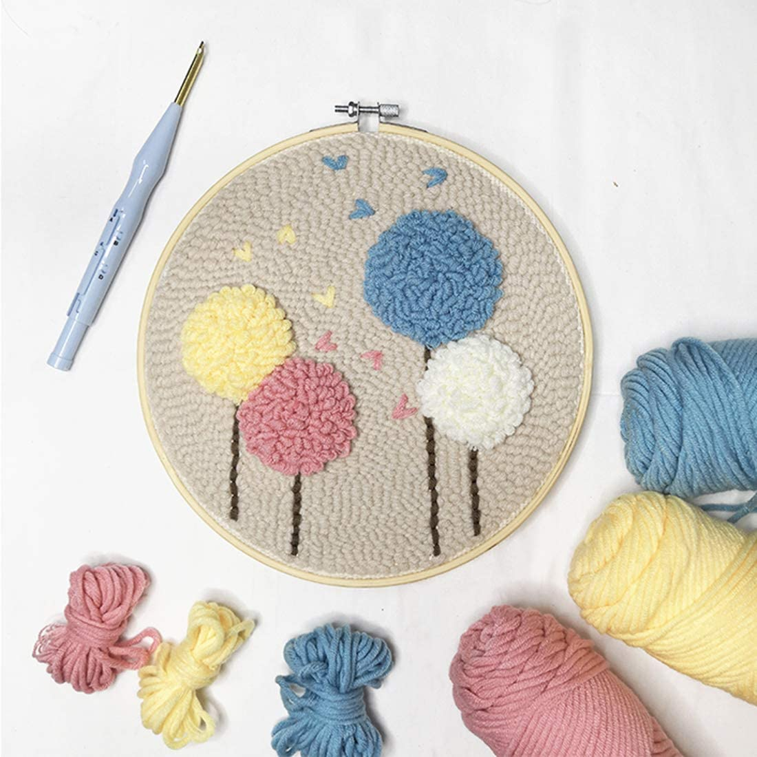 DIY Latch Hook Kits Knitting Embroidery Kit Needlework Crafts Punch Needle Starter Kit for Kids and Adults Yamix Rug Hooking Rug Crafts
