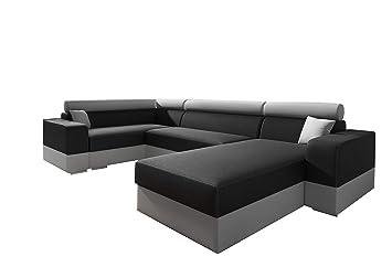 70ea80345a91b MEUBLO Canapé d angle panoramique Convertibles Tissu et Simili Cuir Georg  Super (Noir +