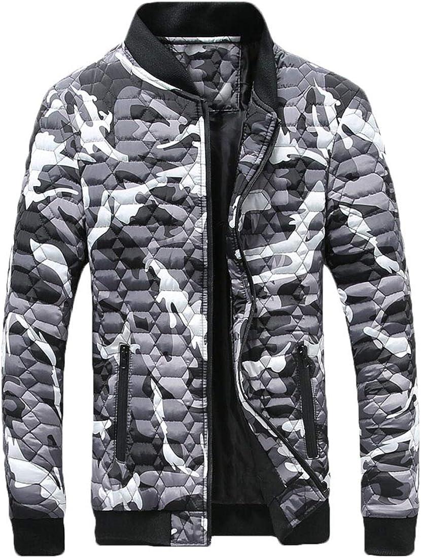 YONGM Mens Outwear Winter Camouflage Puffer Coat Padded Oversized Jacket
